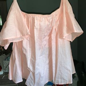 off the shoulder peach top